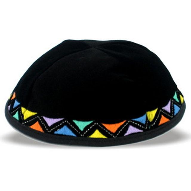 "Kippa velours - ""Triangles Multicolores"""