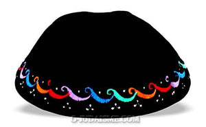 "Kippa velours - ""Vagues multicolores""-O-Judaisme"