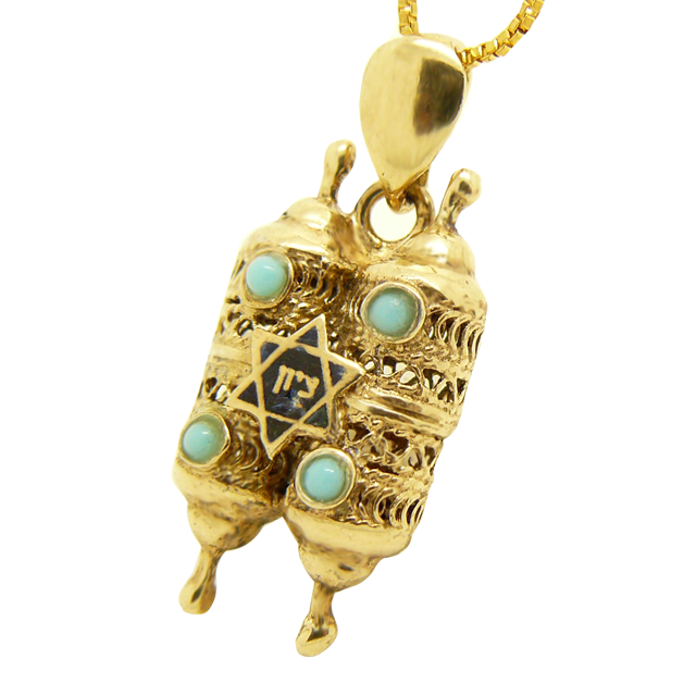 Pendentif Sefer Thora recouvert d'Or 18cts