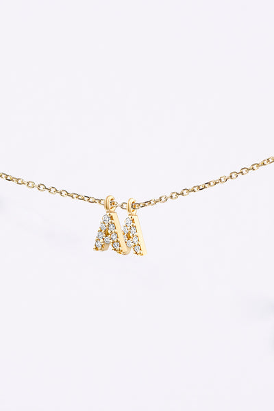 DIAMOND INITIAL CLUSTER NECKLACE