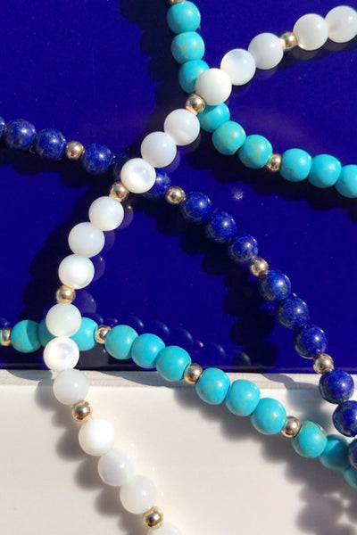 BUBBLE BEAD STRAND ANKLET - MOTHER OF PEARL