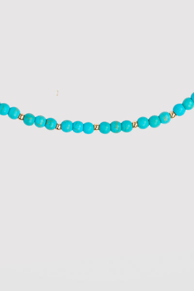 BUBBLE BEAD STRAND NECKLACE - TURQUOISE