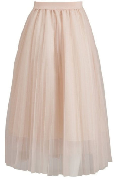Pleated mesh skirt with shimmer detail