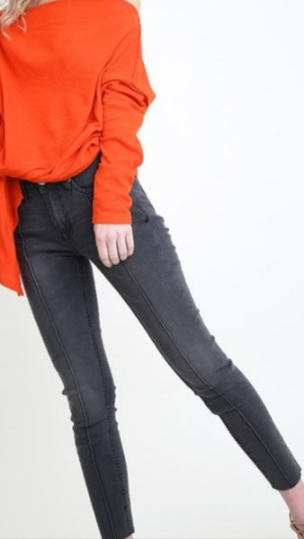 Seamed detail stretch denim
