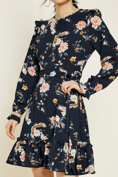 Belted floral ruffle dress