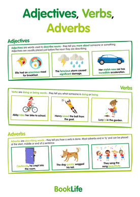 Free Adjectives, Verbs, Adverbs Poster by BookLife