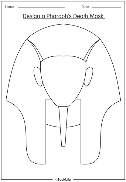 Free activity sheet design a pharaoh 39 s death mask booklife for Egyptian masks templates