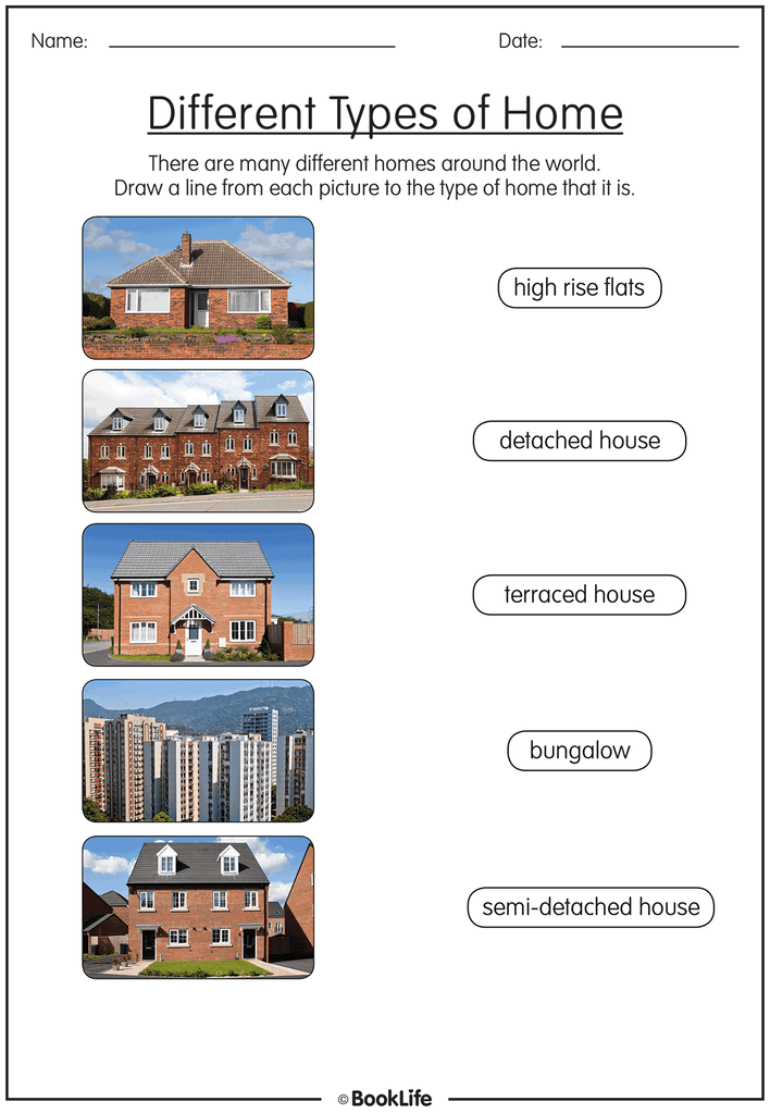 Free Activity Sheet Different Types Of Homes Booklife