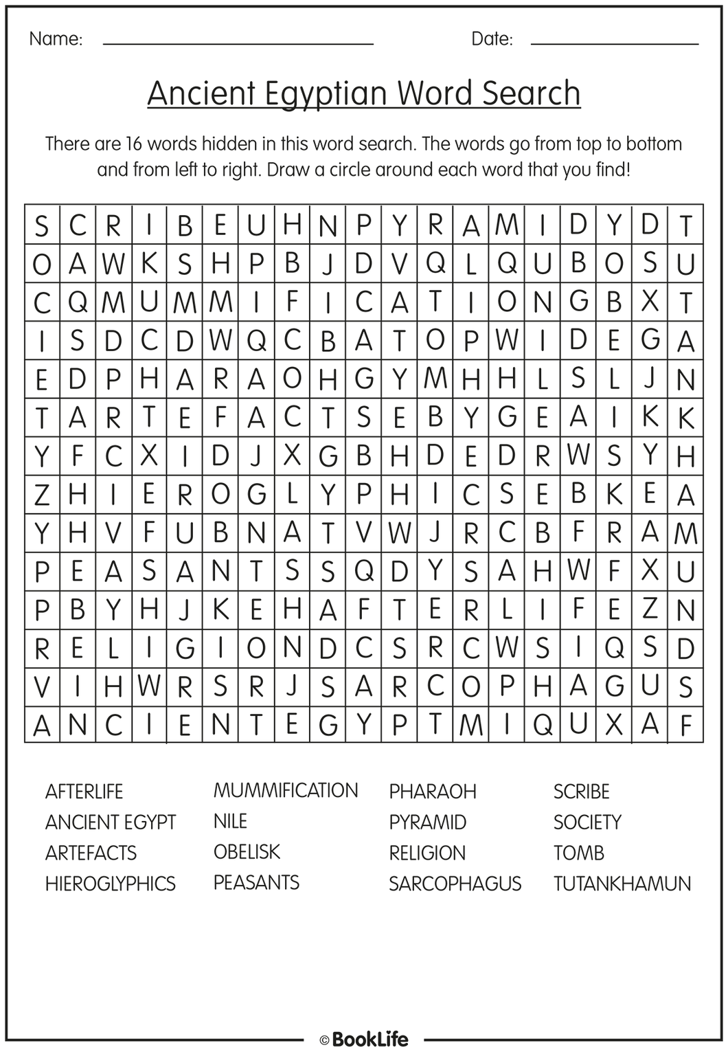 Ancient Egyptian Word Search by BookLife