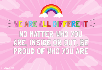 We Are All Different Poster by BookLife, Pride poster, be proud, pride month