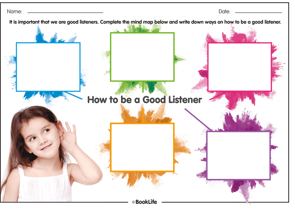 how to be a good listener activity sheet booklife