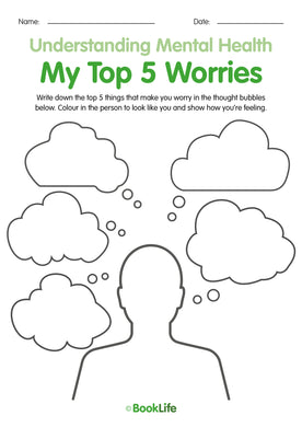 My Top 5 Worries Activity Sheet by BookLife