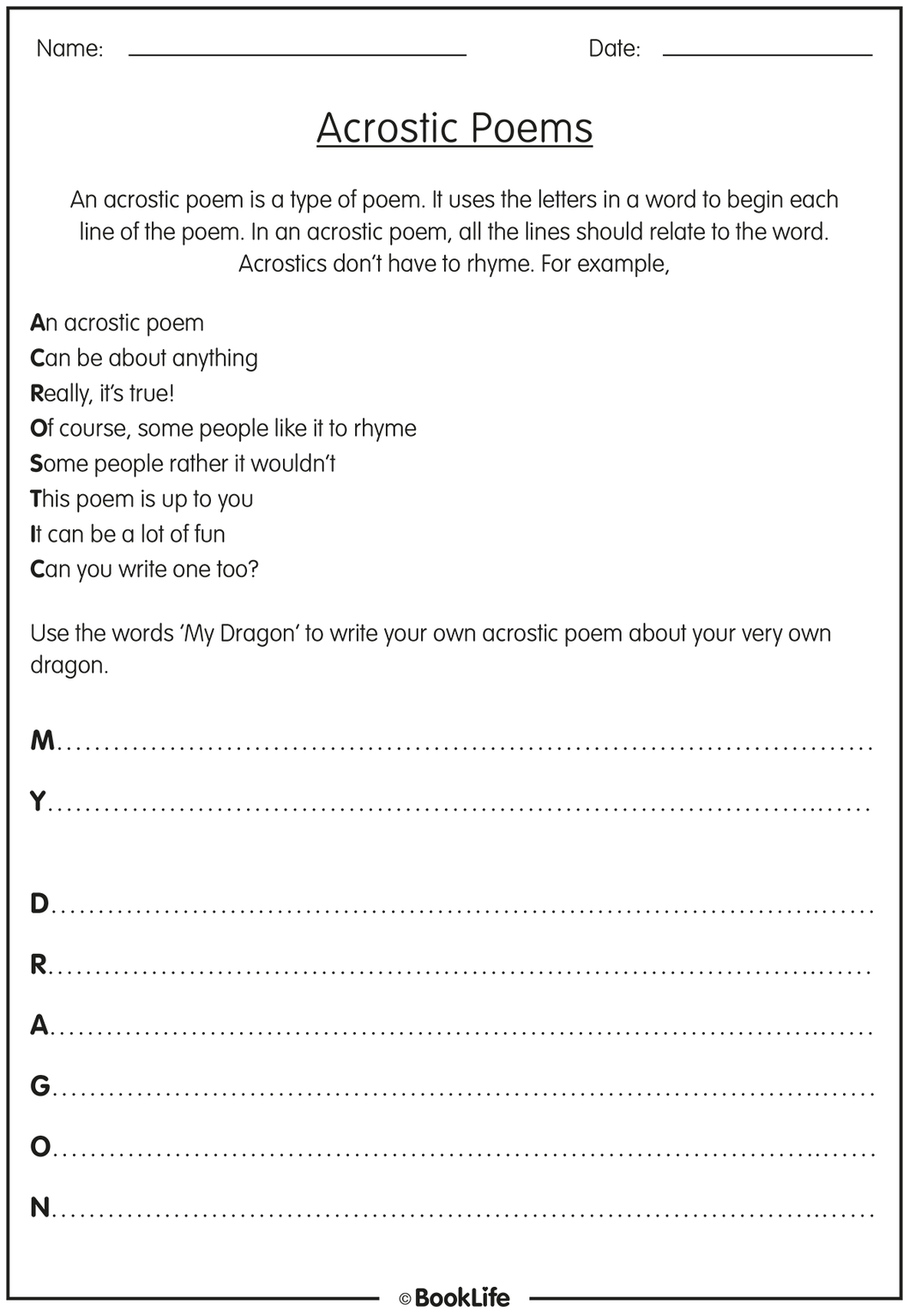 Free Acrostic Poems