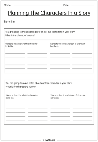 Character Creation Activity Sheet