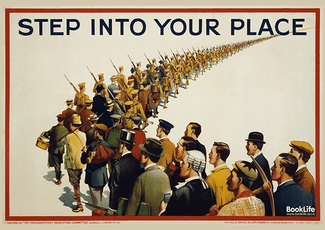 "Free WWI & WWII propaganda posters - ""Step into your place"""