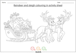 Reindeer and Sleigh Colouring in Activity Sheet by BookLife