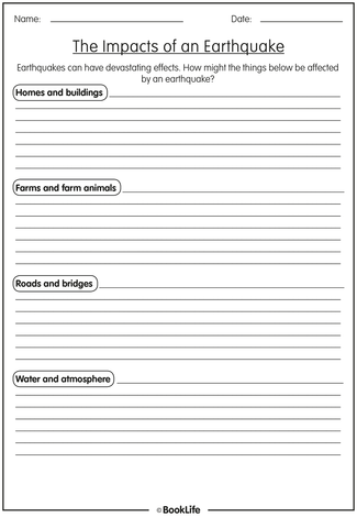 Free Earthquakes Activity Sheet