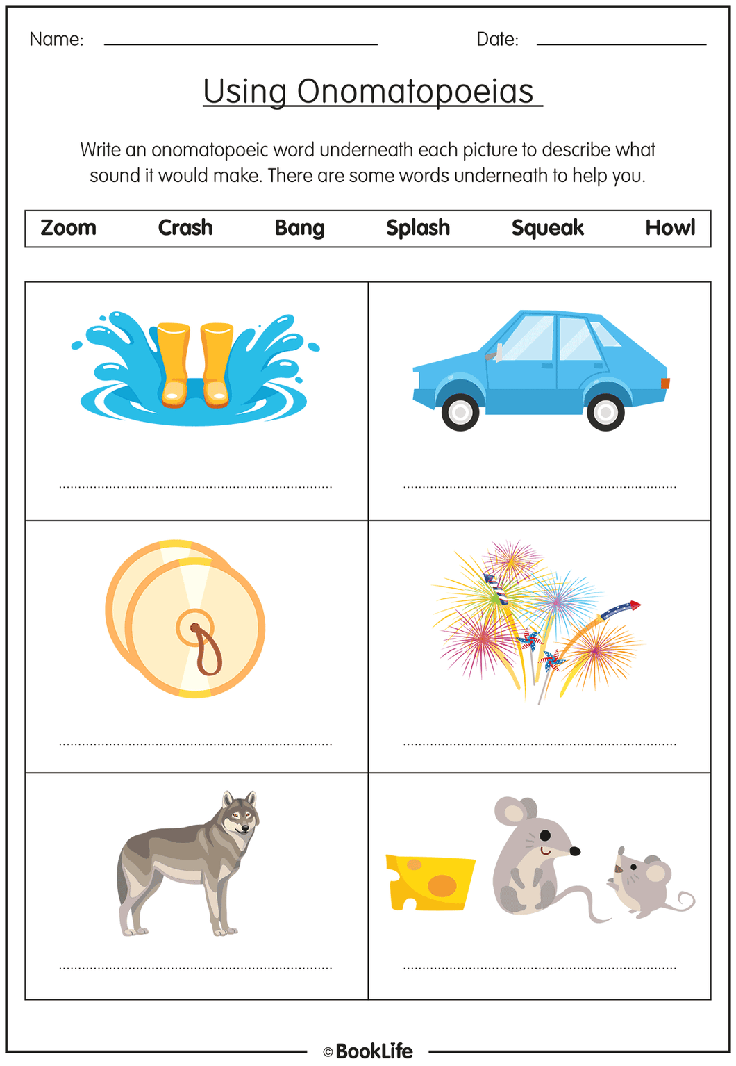 Free Onomatopoeias Activity Sheet