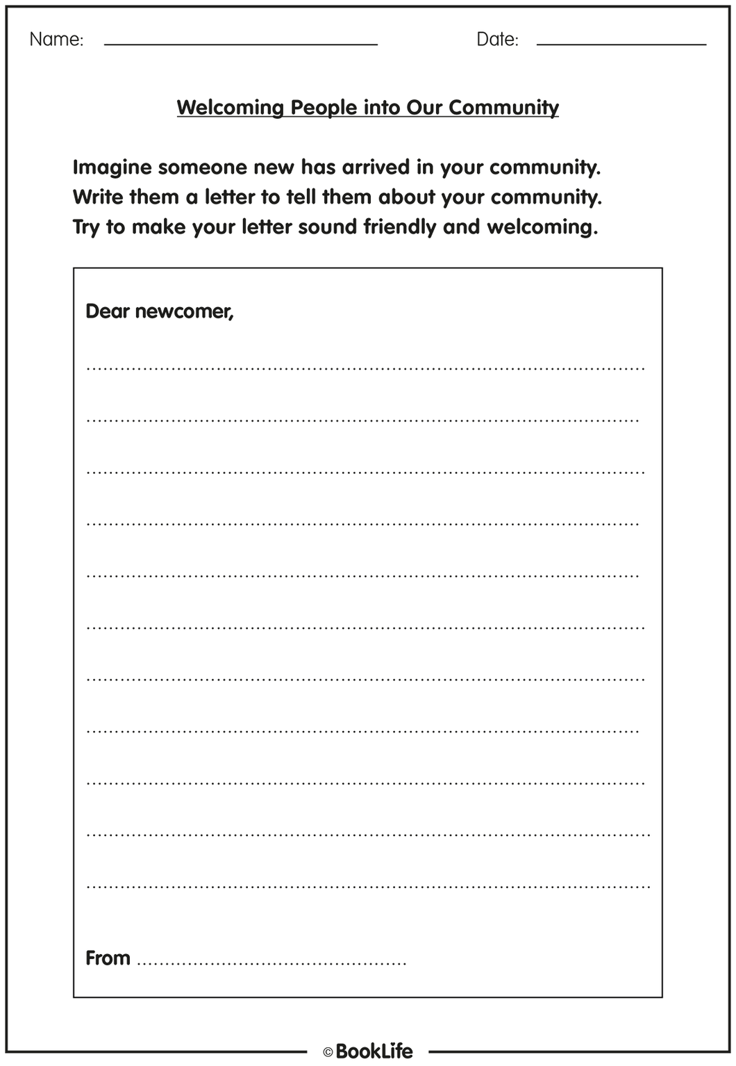 Welcome People into Our Community Activity Sheet