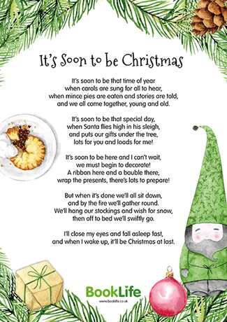 'It's Soon to be Christmas' Poem Poster