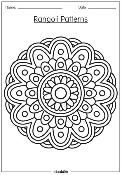 Rangoli Pattern Activity Sheets | Free