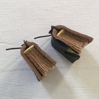 Brown Leather and Green Book Earrings