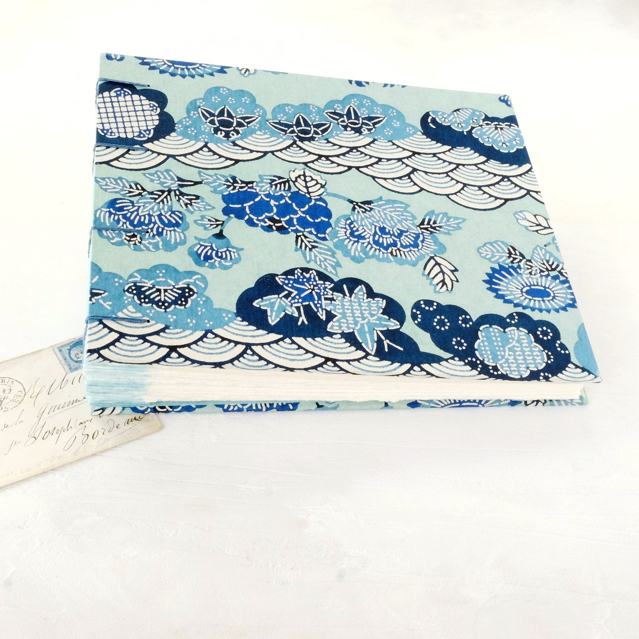 blue swirls-photo album-cover-handmade-london