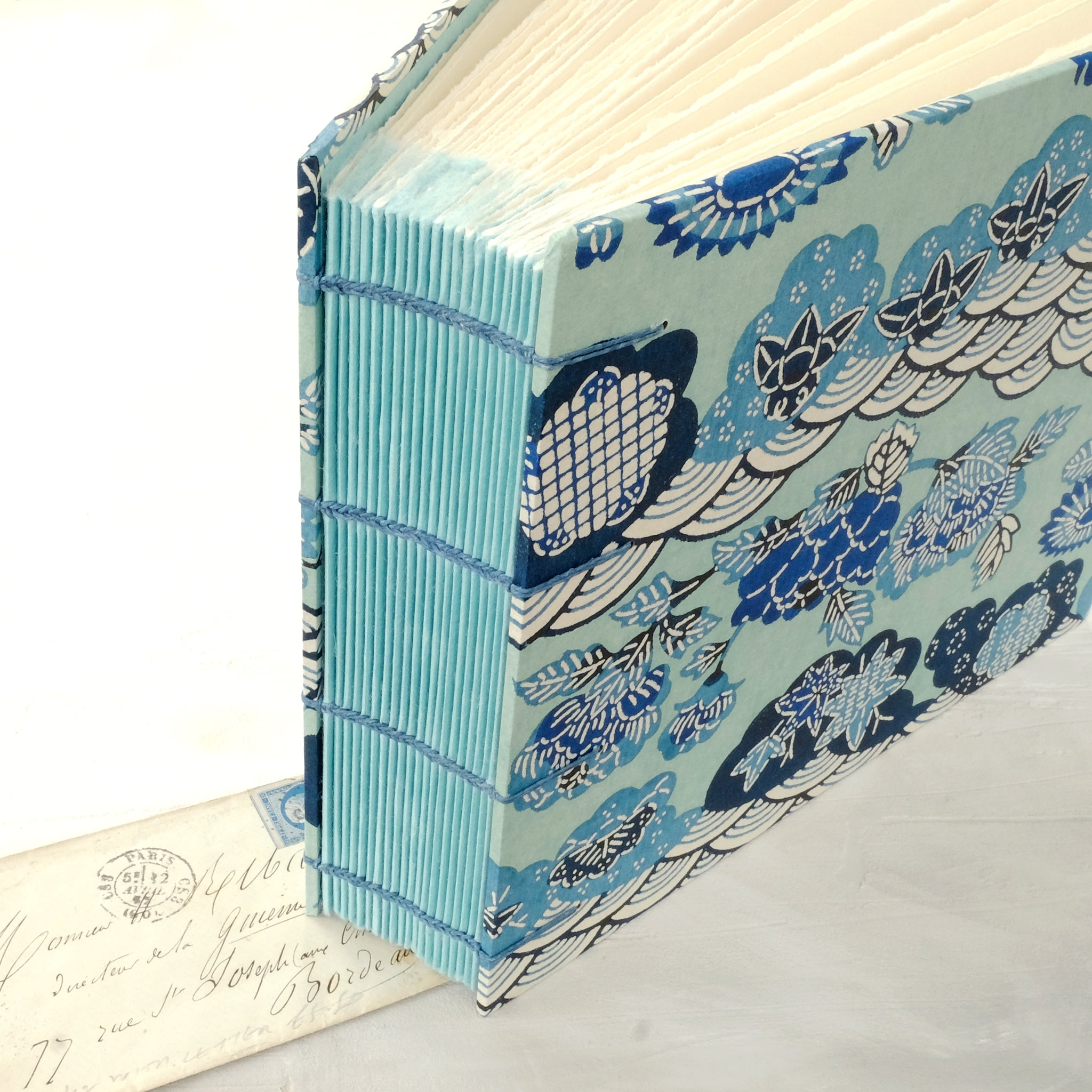 blue swirls-photo album-spine-handmade-london