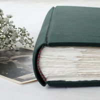 bold teal-wedding album-handcrafted-handmade-traditional photo book-silk endband-the idle bindery