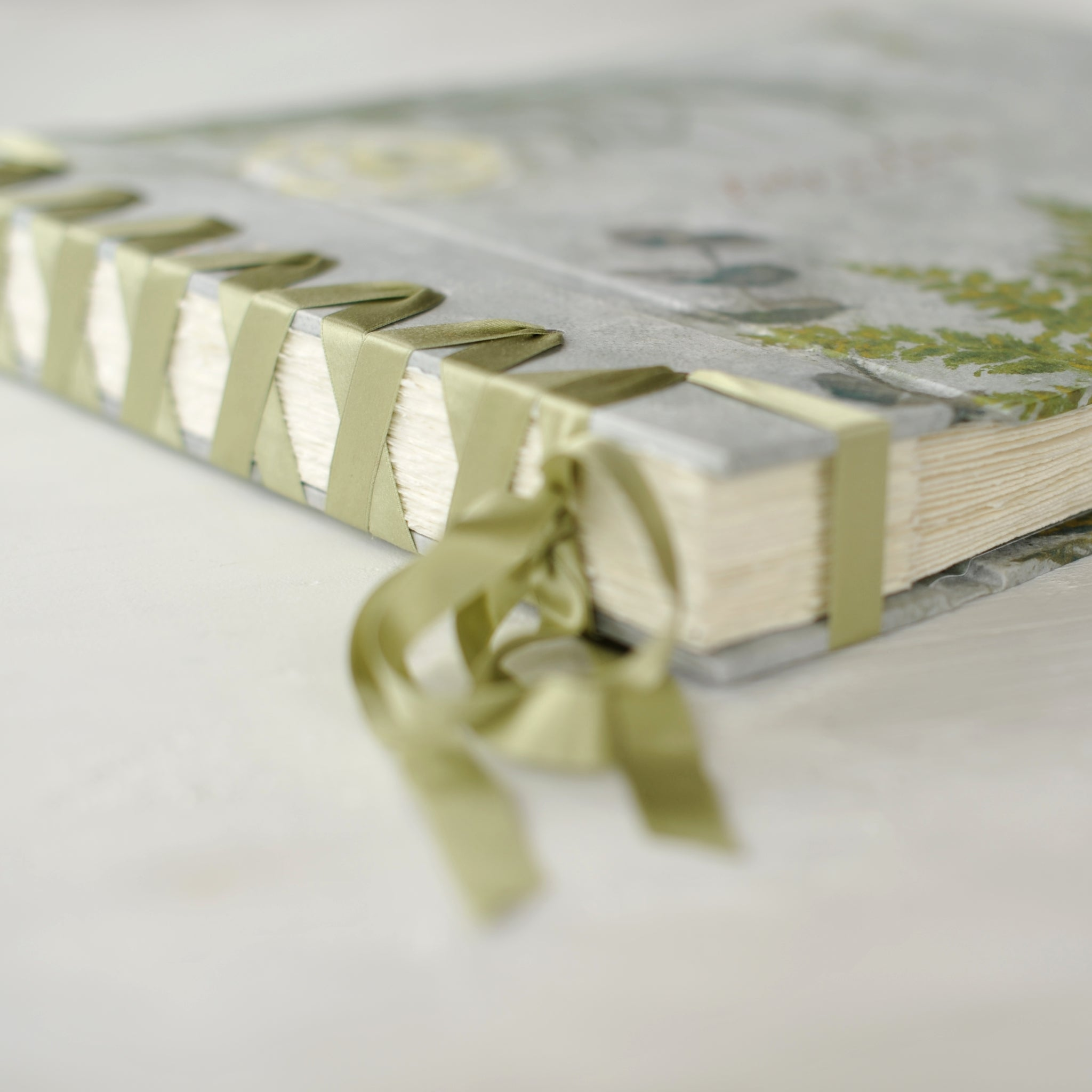 botancial-elegant wedding album-ribbon detail-bespoke artwork-handmade-london