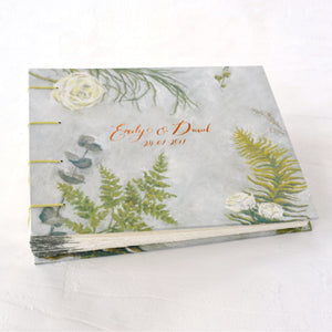 botanical guestbook-wedding book-wedding guestbook-cover-coptic-handmade-the idle bindery