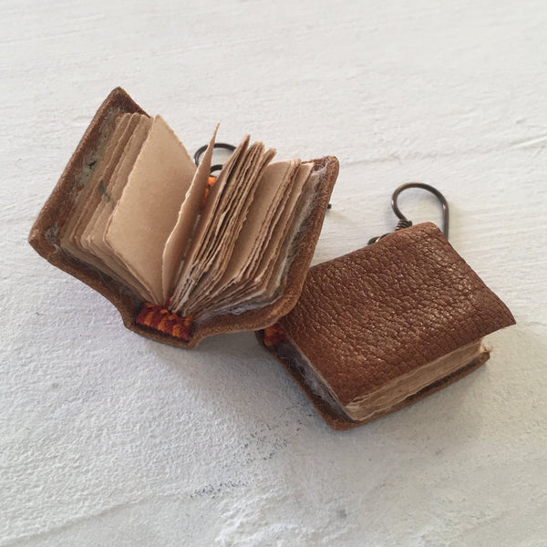 Orange Brown Leather Book Earrings
