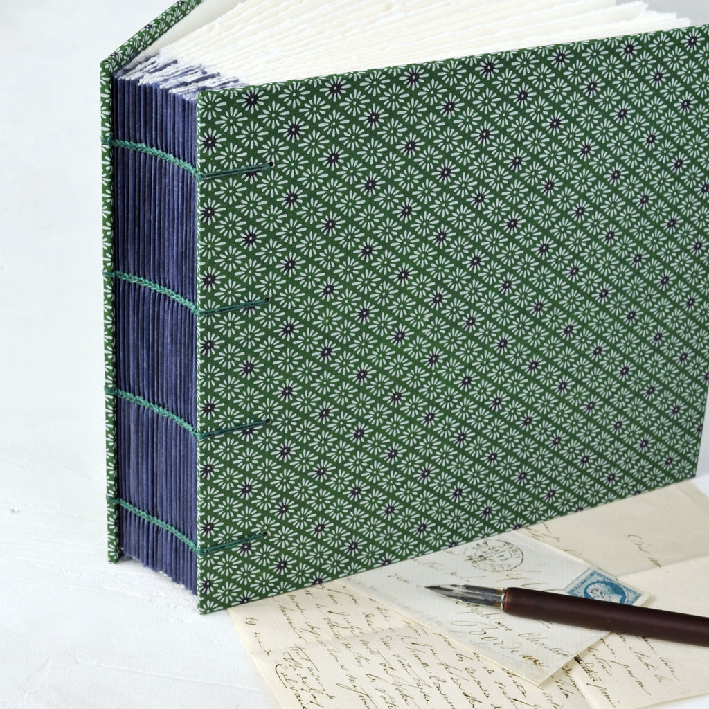 green and purple-photo album-coptic stitch-purple guards-handmade-london