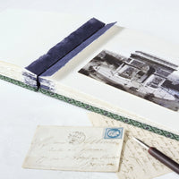green and purple-photo album-coptic stitch-deckled edges-handmade-london