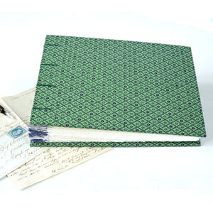 green and purple-photo album-coptic stitch-handmade-london