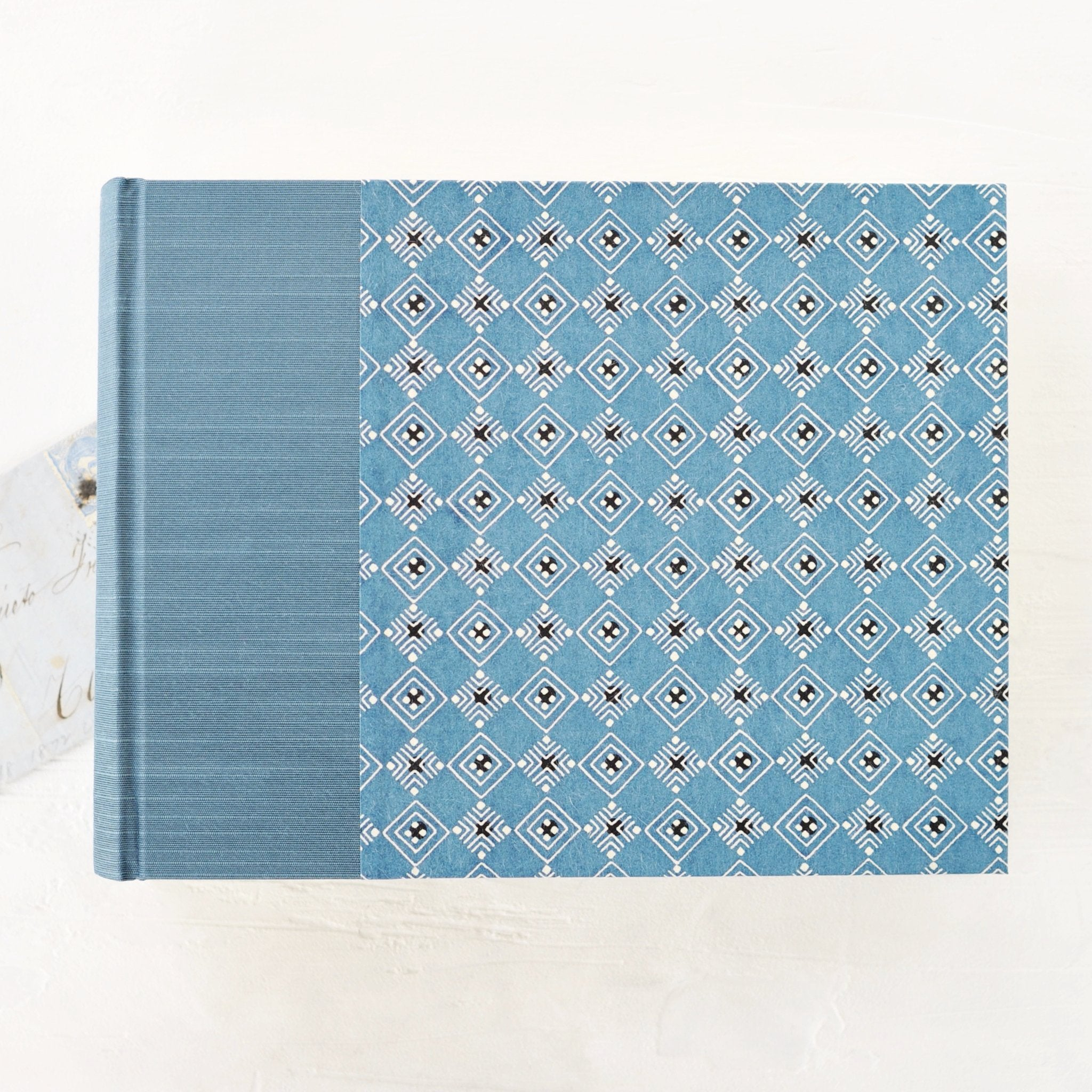 light blue geometric- traditional album-blue silk spine-handmade-the idle bindery