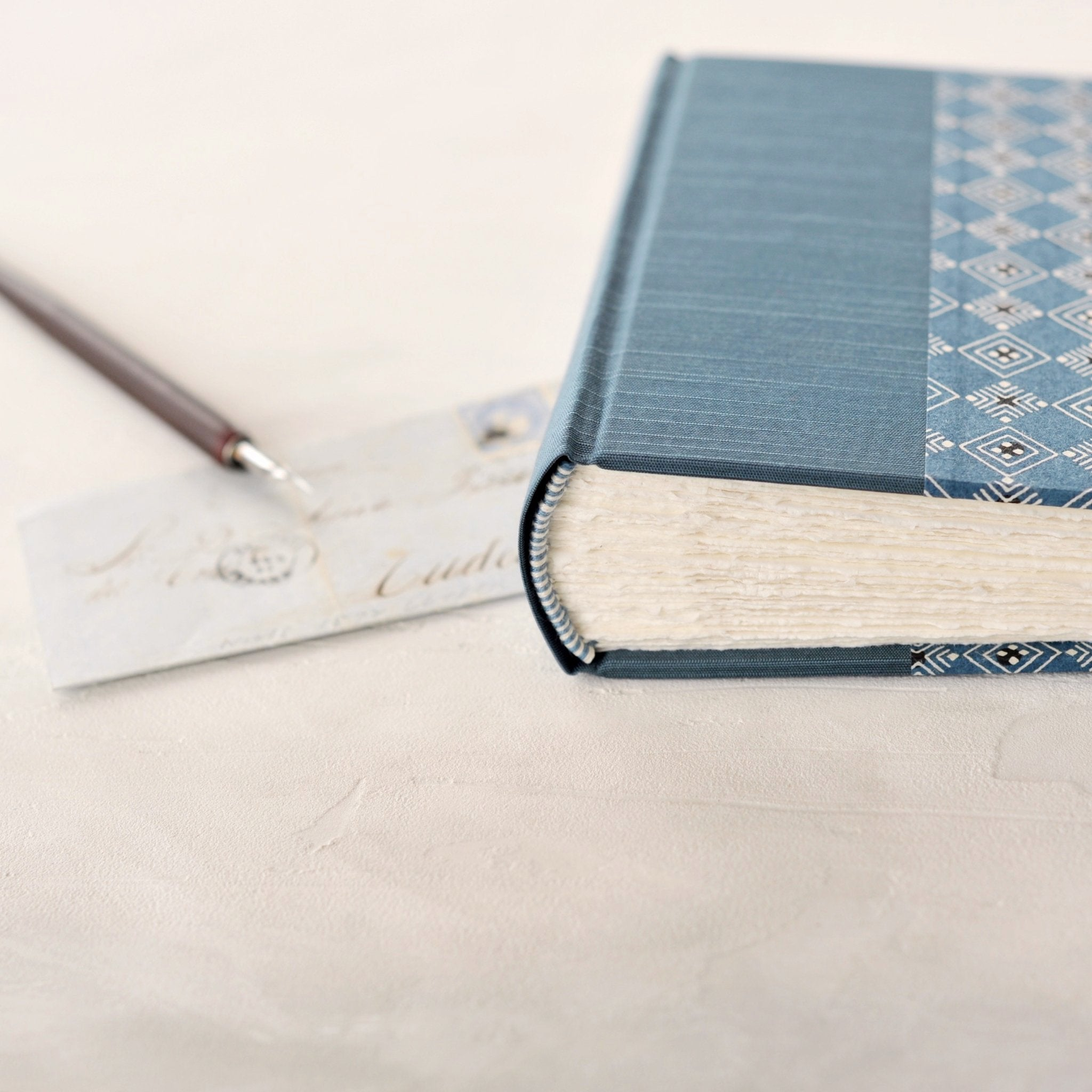 light blue geometric- traditional album-hand sewn endband-handmade-the idle bindery