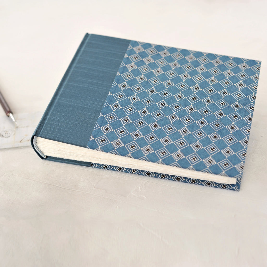 light blue geometric- traditional album-pattern detail-handmade-the idle bindery