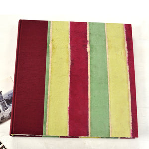 maroon lime striped album-traditional-cover-handmade