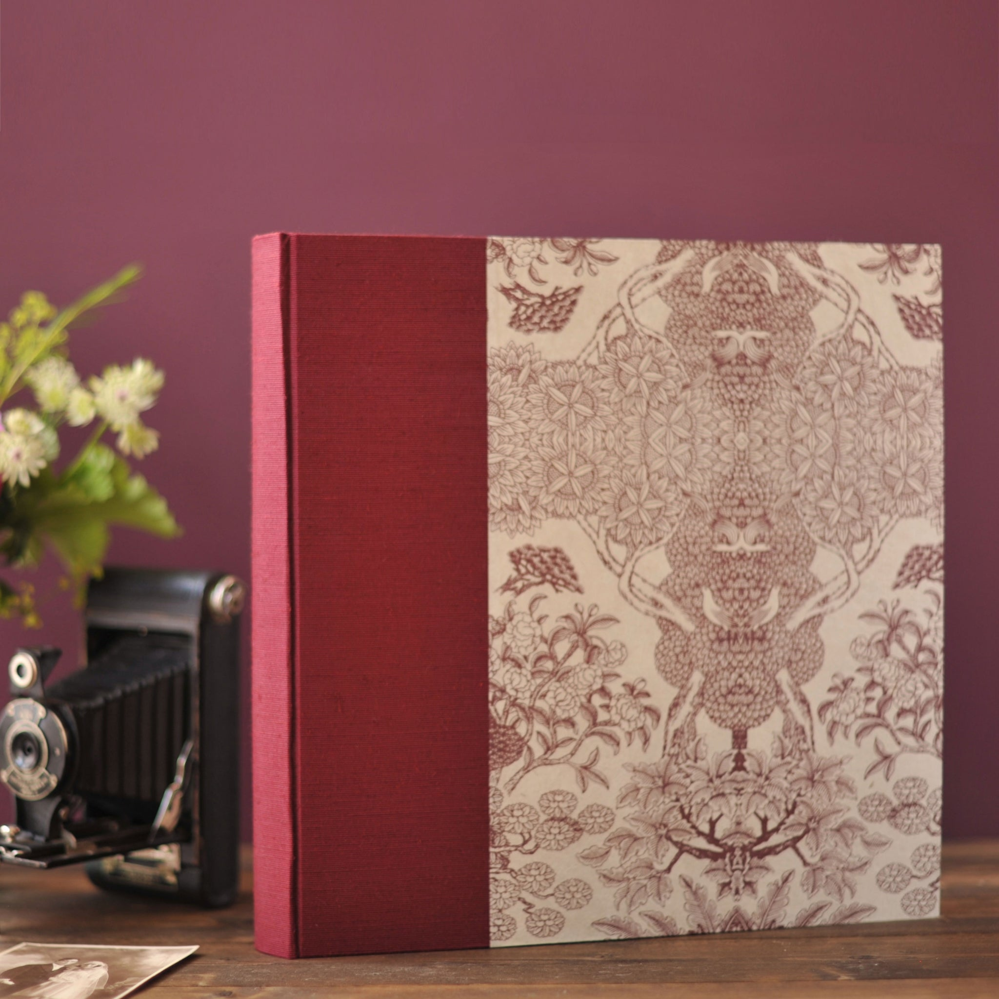 maroon pink-wedding album-traditional-cover-handmade
