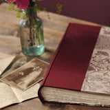 maroon pink-wedding album-traditional-deckle pages-handmade