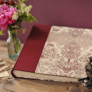 maroon pink-wedding album-traditional-hand sewn endband-handmade