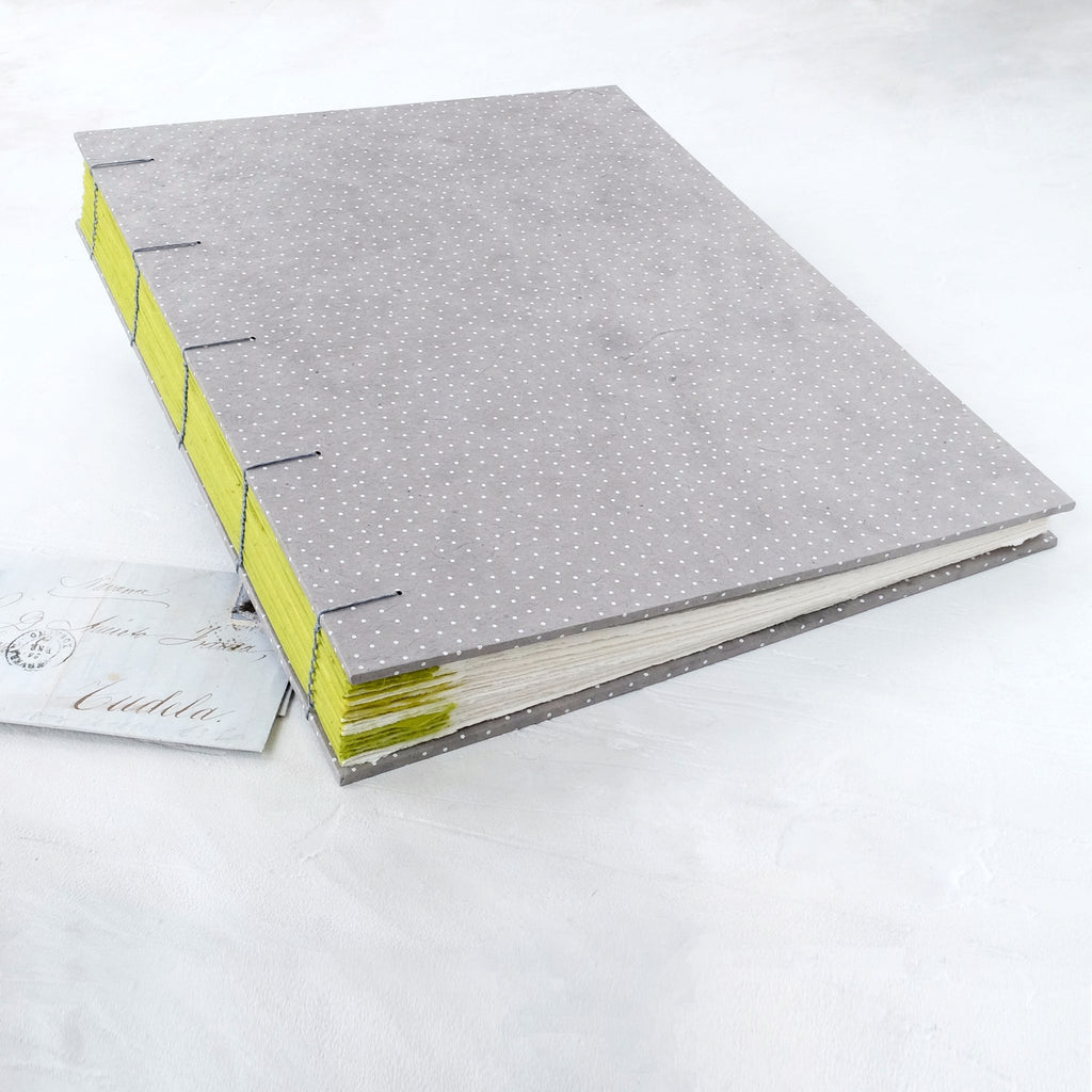 speckled grey-coptic album-cover-contemporary album-handmade-the idle bindery