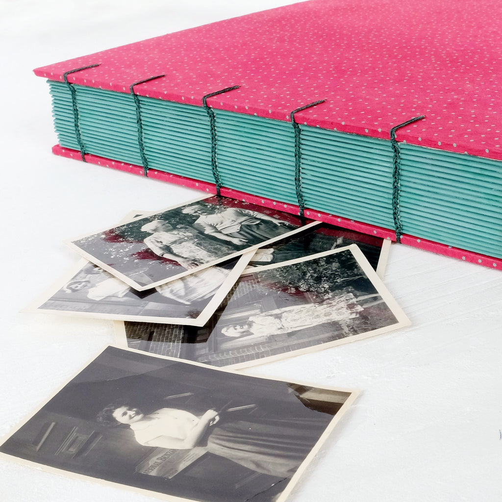 speckled pink-coptic album-hand painted-stitch detail-handmade books-the idle bindery
