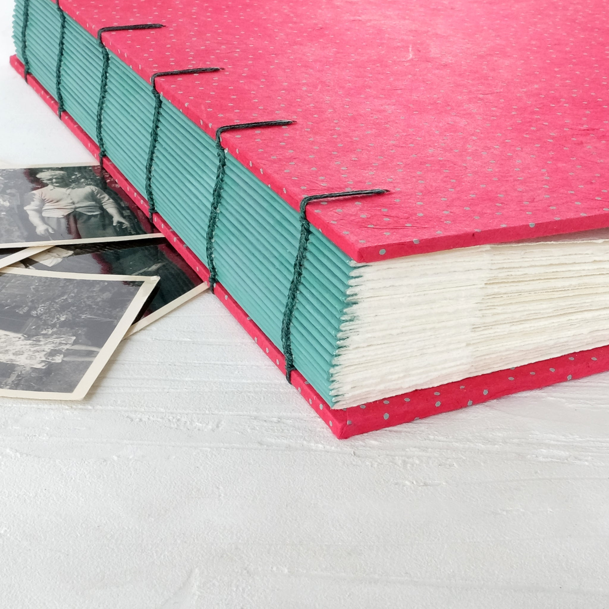 speckled pink-coptic album-hand sewn-handmade books-the idle bindery