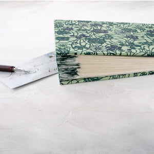 teal vine-coptic album-hand sewn-deckle pages-handmade-the idle bindery