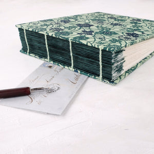 teal vine-coptic album-hand sewn-spine guards-handmade-the idle bindery