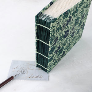teal vine-coptic album-hand sewn-stitching detail-handmade-the idle bindery