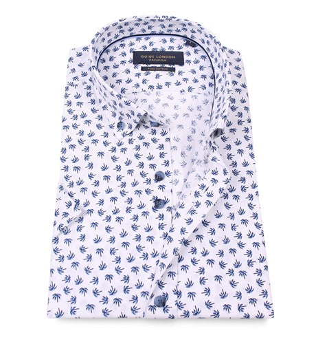 Guide London Blue Cotton Oxford Shirt With A Tropical Tree Print