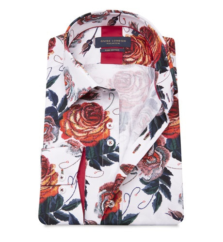 Guide London Red Detailed Flower Shirt